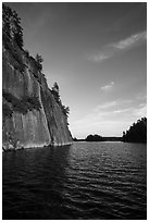 125 feet cliffs of Grassy Bay, Sand Point Lake. Voyageurs National Park ( black and white)