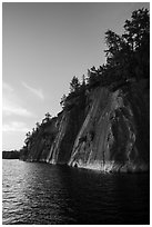 Sheer cliffs of Grassy Bay, Sand Point Lake. Voyageurs National Park ( black and white)