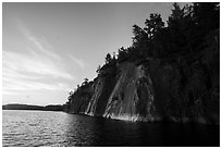 Grassy Bay Cliffs at sunset, Sand Point Lake. Voyageurs National Park ( black and white)