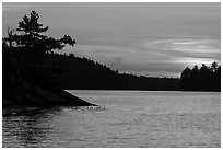 Sunset, Grassy Bay, Sand Point Lake. Voyageurs National Park ( black and white)