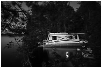 Houseboat at night, Houseboat Island, Sand Point Lake. Voyageurs National Park ( black and white)