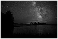 Milky Way from Houseboat Island, Sand Point Lake. Voyageurs National Park ( black and white)