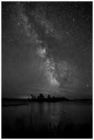 Islet and Milky Way, Sand Point Lake. Voyageurs National Park ( black and white)