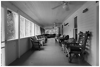 Porch, Kettle Falls Hotel. Voyageurs National Park ( black and white)