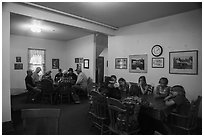 Dining room, Kettle Falls Hotel. Voyageurs National Park ( black and white)