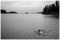 Man swimming, Anderson Bay. Voyageurs National Park ( black and white)