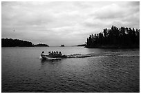 Group boating to shore, Anderson Bay. Voyageurs National Park ( black and white)