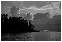 Sun setting below cloud, Rainy Lake. Voyageurs National Park ( black and white)