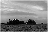 Islets at sunset, Rainy Lake. Voyageurs National Park ( black and white)