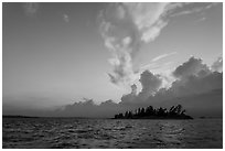 Islet and clouds at sunset, Rainy Lake. Voyageurs National Park ( black and white)