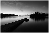 Dock and Anderson Bay at dawn. Voyageurs National Park ( black and white)