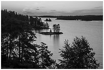 Islets and Anderson Bay, sunrise. Voyageurs National Park ( black and white)