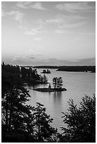Forested Islets, Anderson Bay, sunrise. Voyageurs National Park ( black and white)