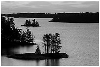 North Woods islets from above, Anderson Bay, sunrise. Voyageurs National Park ( black and white)