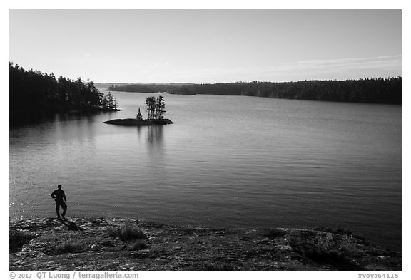 Visitor looking, Anderson Bay and Rainy Lake. Voyageurs National Park (black and white)