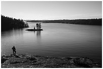 Visitor looking, Anderson Bay and Rainy Lake. Voyageurs National Park ( black and white)