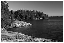 Windmill Rock Cove and Rainy Lake. Voyageurs National Park ( black and white)