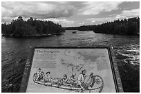 Voyageurs interpretive sign. Voyageurs National Park ( black and white)