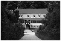 Kettle Falls Hotel and path. Voyageurs National Park ( black and white)