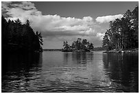Islet and reflections, Sand Point Lake. Voyageurs National Park ( black and white)