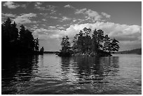North Woods islet and reflection, Sand Point Lake. Voyageurs National Park ( black and white)