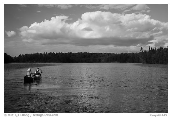 Canoe on small arm of Sand Point Lake. Voyageurs National Park (black and white)