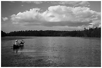 Canoe on small arm of Sand Point Lake. Voyageurs National Park ( black and white)