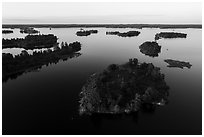 Aerial view of Chief Woodenfrog islands, Kabetogama Lake. Voyageurs National Park ( black and white)