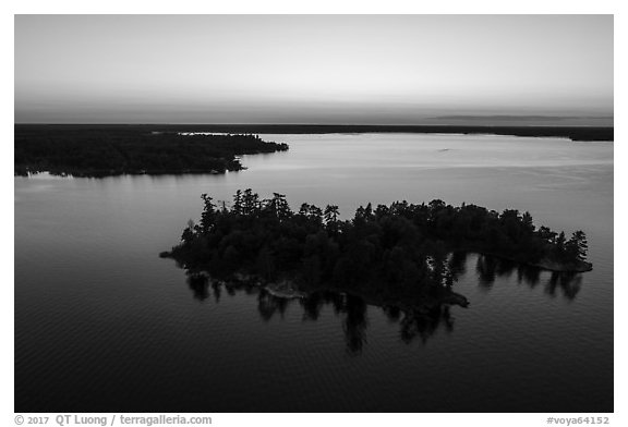 Aerial view of Bittersweet Island at sunset, Kabetogama Lake. Voyageurs National Park (black and white)