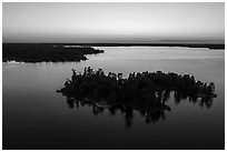 Aerial view of Bittersweet Island at sunset, Kabetogama Lake. Voyageurs National Park ( black and white)