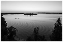 Aerial view of Woodenfrog shore at sunset, Kabetogama Lake. Voyageurs National Park ( black and white)