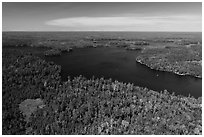Aerial view of Old Dutch Bay, Namakan Lake. Voyageurs National Park ( black and white)