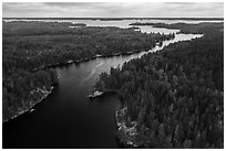 Aerial view of Kettle Channel, Rainy Lake. Voyageurs National Park ( black and white)