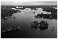 Aerial view of American Channel, Rainy Lake. Voyageurs National Park ( black and white)