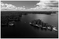 Aerial view of Surveyors Island, Rainy Lake. Voyageurs National Park ( black and white)