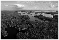 Aerial view of Namakan Narrows, Namakan Lake. Voyageurs National Park ( black and white)