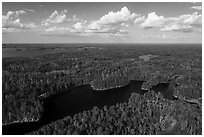 Aerial view of Namakan Narrows and Sand Point Lake. Voyageurs National Park ( black and white)