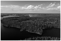 Aerial view of Namakan Narrows. Voyageurs National Park ( black and white)