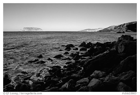 Prince Island and Cuyler Harbor, sunset, San Miguel Island. Channel Islands National Park (black and white)