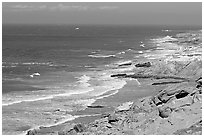 Coastline near Point Bennett , San Miguel Island. Channel Islands National Park, California, USA. (black and white)