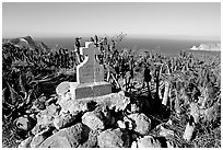 Monument commemorating Juan Rodriguez Cabrillo's landing on  island in 1542, San Miguel Island. Channel Islands National Park, California, USA. (black and white)