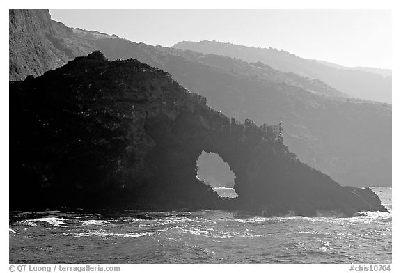 Sea arch and ridges, Santa Cruz Island. Channel Islands National Park (black and white)