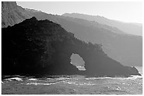 Sea arch and ridges, Santa Cruz Island. Channel Islands National Park, California, USA. (black and white)