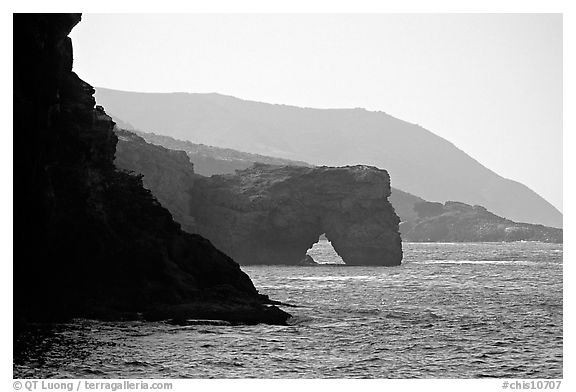 Coastline with sea arch, Santa Cruz Island. Channel Islands National Park (black and white)