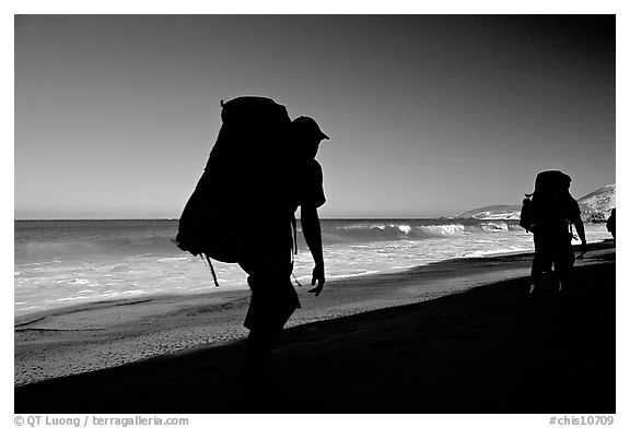Backpackers on beach, Cuyler harbor, San Miguel Island. Channel Islands National Park (black and white)