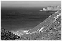 Nidever canyon overlooking Cyler harbor, San Miguel Island. Channel Islands National Park, California, USA. (black and white)
