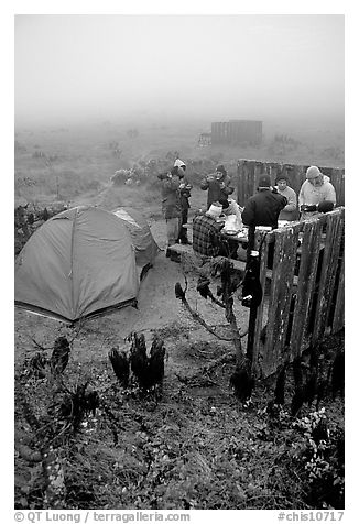 Campers in fog, San Miguel Island. Channel Islands National Park (black and white)