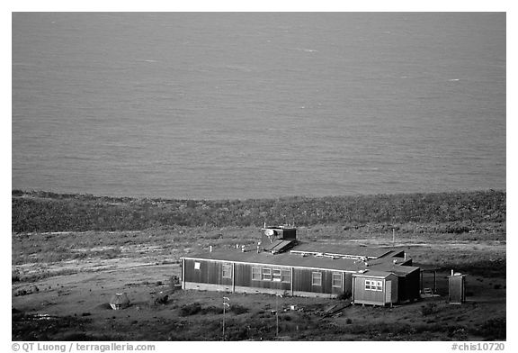 Ranger station, San Miguel Island. Channel Islands National Park (black and white)