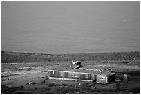 Ranger station, San Miguel Island. Channel Islands National Park, California, USA. (black and white)