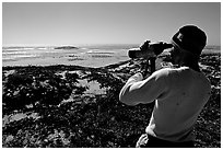 Looking at  marine wildlife at Point Bennett, San Miguel Island. Channel Islands National Park ( black and white)